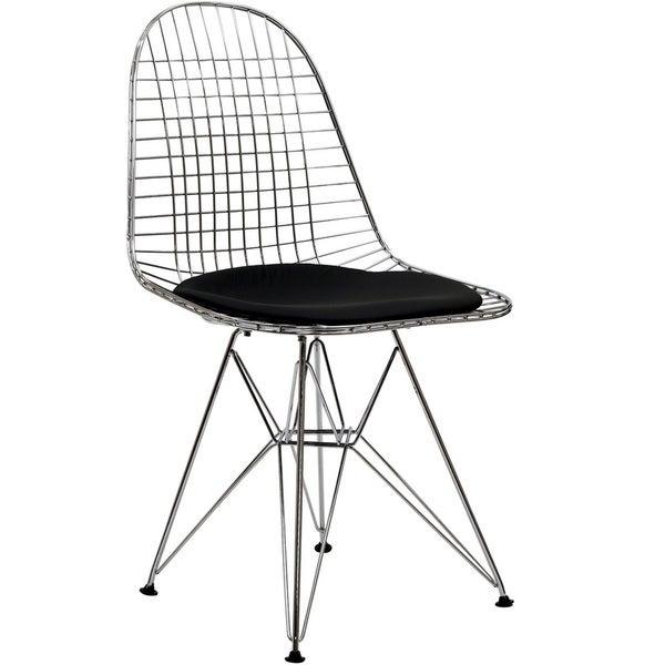 Wire Tower Black Vinyl Cushion Side Chair