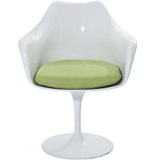 Eero Saarinen Style Tulip Arm Chair with Green Cushion