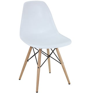 White Plastic Side Chair with Wooden Base