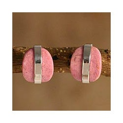 Silver 'Innovate' Rhodonite Button Earrings (Peru)