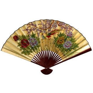12-inch Wide Gold Leaf Cherry Blossom Fan (China)