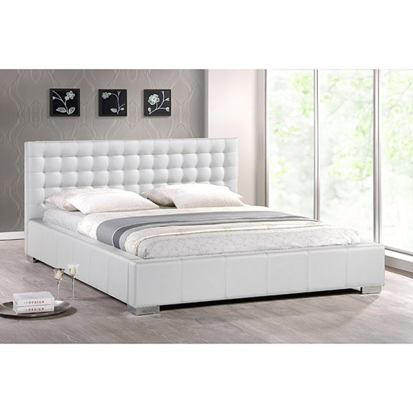 Madison White Modern King-size Bed with Upholstered Headboard