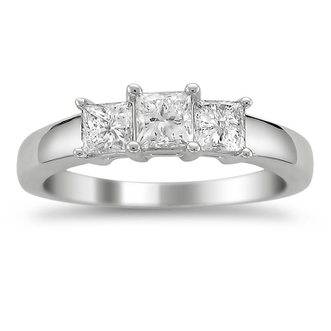 14k White Gold 1ct TDW Diamond 3-stone Engagement Ring (H-I, I1)