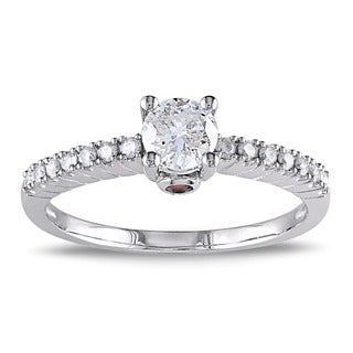 L'Amour Enrose by Miadora 14k Gold 1/2ct TDW Diamond and Pink Sapphire Engagement Ring (H-I, I2-I3)