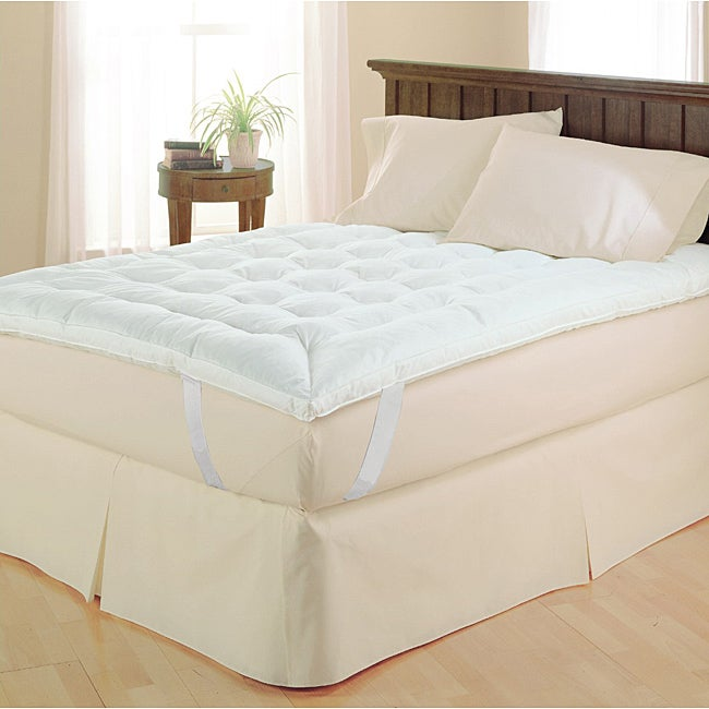 240-thread Count White Baffle-box Microfiber Featherbed
