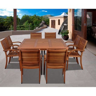 Amazonia Riviera 9-piece Eucalyptus Wood Square Dining Set