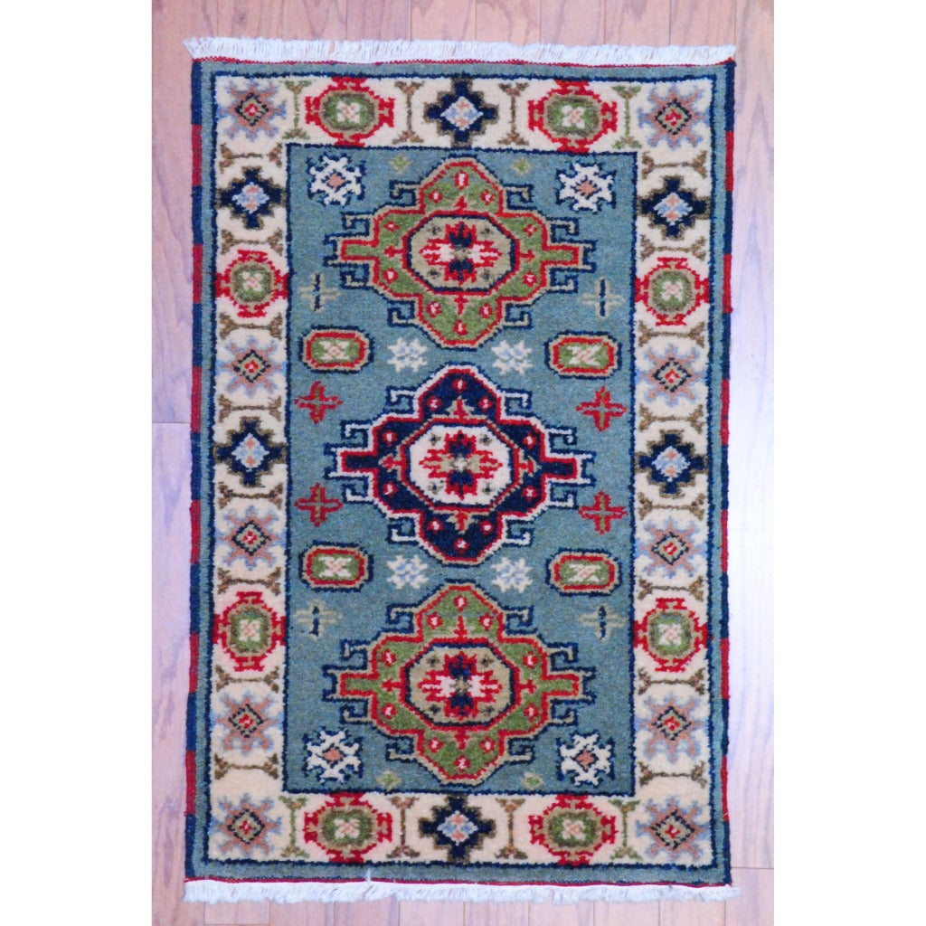 Indo Hand-knotted Kazak Light Blue/ Ivory Wool Rug (2' x 3')