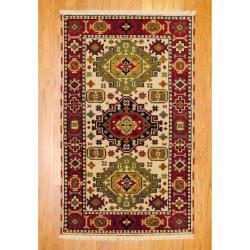 Indo Hand-Knotted Kazak Beige/Rust Wool Area Rug (3' x 5')