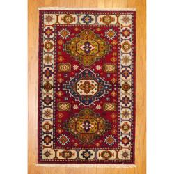 Indo Hand-Knotted Kazak Red/Ivory Traditional Wool Rug (3' x 5')