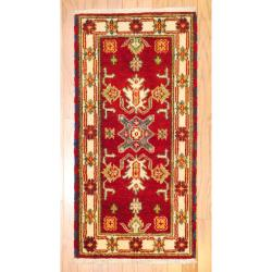 Indo Traditional Hand-Knotted Kazak Red/Ivory Wool Rug (2' x 4')