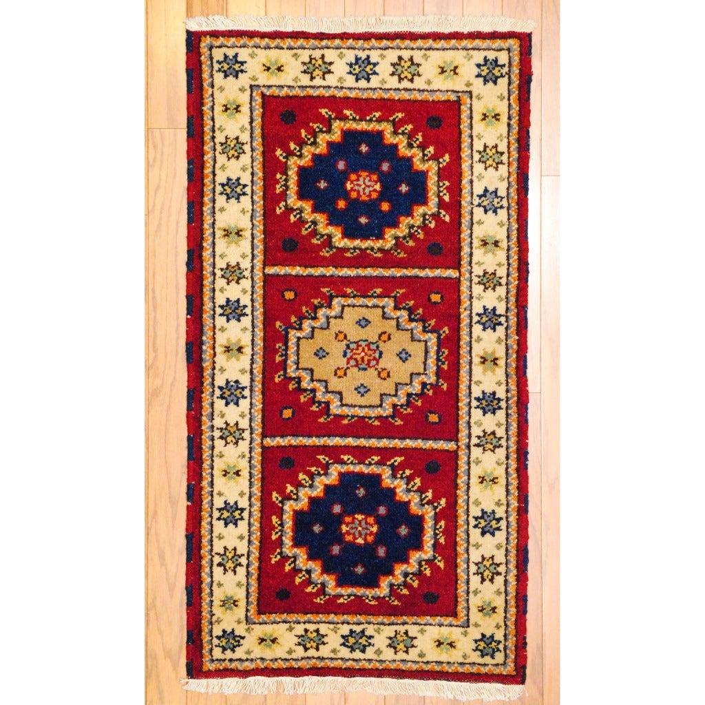 Indo Hand-Knotted Kazak Red/Ivory Geometric Wool Rug (2' x 4')