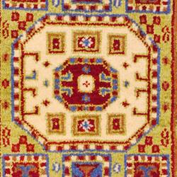 Indo Hand-knotted Kazak Light Green/ Light Brown Wool Rug (2' x 4')