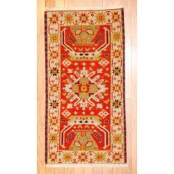 Indo Hand-knotted Kazak Rust/ Orange Wool Rug (2' x 4')