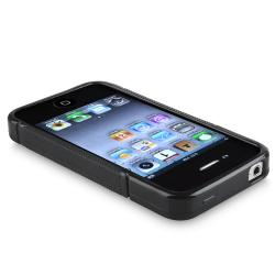 INSTEN Black S Shape TPU Rubber Skin Phone Case Cover for Apple iPhone 4/ 4S