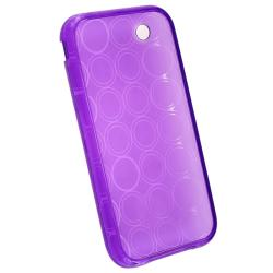 INSTEN Clear Purple Circle TPU Rubber Phone Case Cover for Apple iPhone 3G/ 3GS