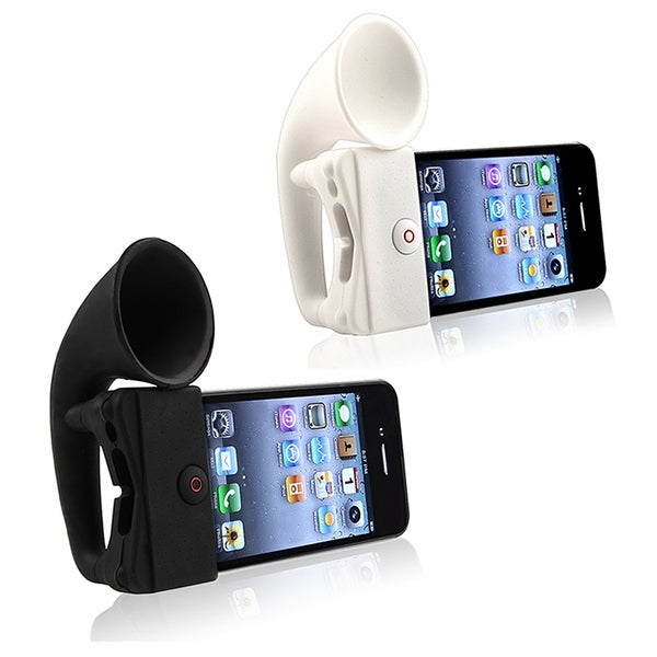 INSTEN Black Soft Silicone Horn Stand Speaker for Apple iPhone 4/ 4S