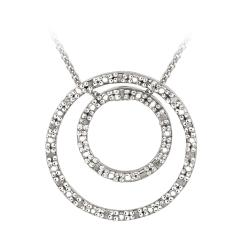 DB Designs Sterling Silver 1/5ct TDW White Diamond Double Circle Necklace (J, I3)