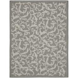 Safavieh Anthracite/ Light Grey Indoor Outdoor Rug (5'3 x 7'7)