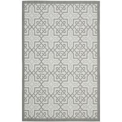 Safavieh Light Grey/Anthracite Indoor Outdoor Synthetic Rug (6'7 x 9'6)