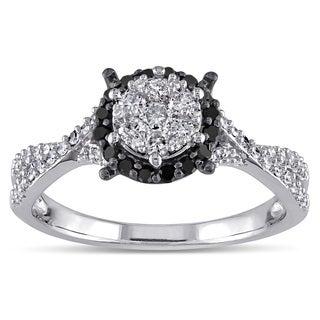 Miadora 10k White Gold 1/2ct TDW Black and White Diamond Halo Ring