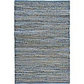 Hand-woven Blue Jeans Denim Rug (5' x 8')