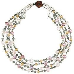 Multi-colored FW Baroque and Coin Pearl Multi-strand Necklace (5-8 mm)