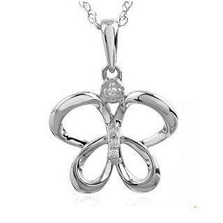 Bridal Symphony 10k Gold Diamond Accent High Polish Fashion Butterfly Necklace