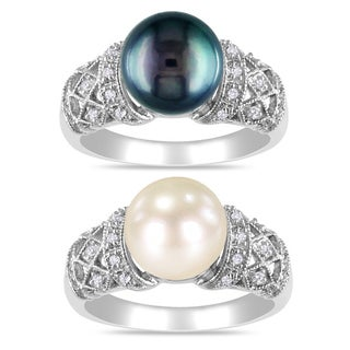 Miadora Sterling Silver Pearl and 1/10ct TDW Diamond Ring (H-I, I3) (9-9.5 mm)