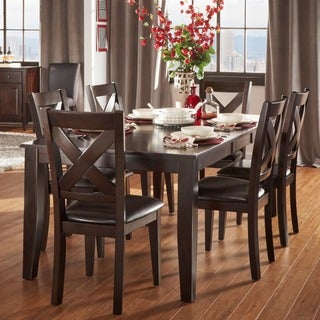 TRIBECCA HOME Acton Warm Merlot X-back Casual 7-piece Extending Dining Set