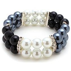 Black/White/Gray Glass-pearl-bead Stretch Bracelet