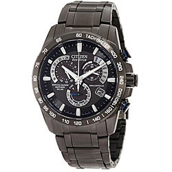 Citizen Men's Eco-Drive Black-Patterned Atomic Timekeeping Watch