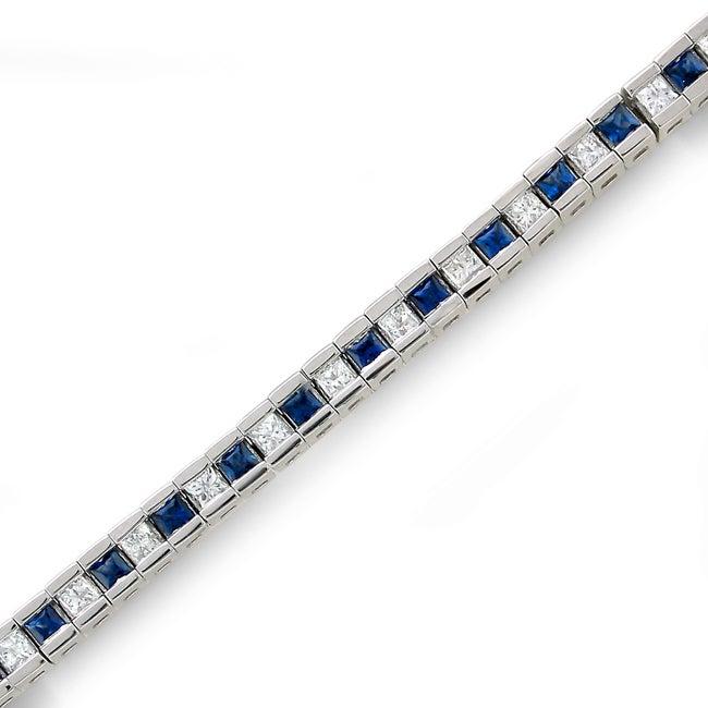 14k White Gold Sapphire and 1 3/5ct TDW IGL Certified Diamond Bracelet (H-I, I1-I2)