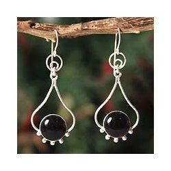 Sterling Silver 'Andean Moon' Onyx Dangle Earrings (Peru)