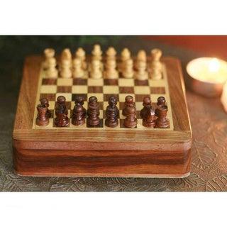 Sheesham and Kadam Wood 'Brave Warrior' Travel Chess Set (India)