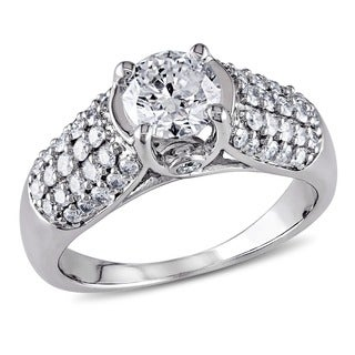 Miadora 14k White Gold 1 1/4ct TDW Certified Diamond Engagement Ring (G-H, I1)