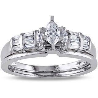 Miadora 14k White Gold 1/2ct TDW Marquise Diamond Bridal Ring Set (H-I, I1-I2)