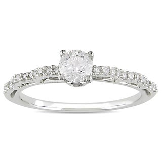 L'Amour Enrose by Miadora 10k Gold 1/2ct TDW Diamond and Pink Sapphire Engagement Ring (H-I, I2-I3)