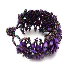 Purple Mother of Pearl Bead Weave Bracelet