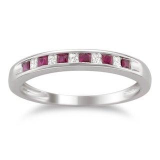 14k White Gold Gemstone and 1/10ct TDW Diamond Wedding Band (H-I, I1-I2)