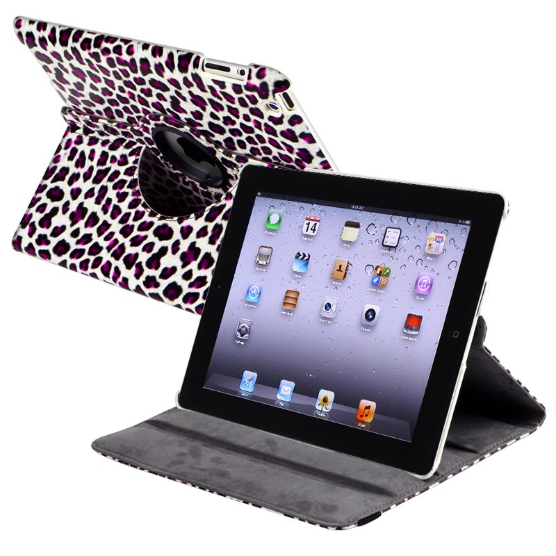 White/ Purple 360-degree Swivel Leather Case for Apple iPad 2/ 3
