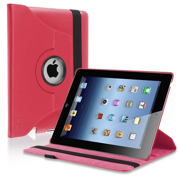 Insten Leather Folio Flip Tablet Case with Swivel Stand for Apple iPad 2/ 3/ 4
