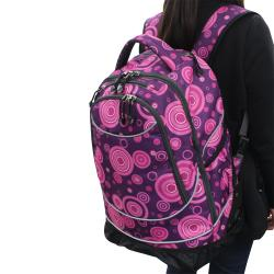 Pacific Gear Horizon Purple/ Pink Bubbles Rolling Laptop Backpack
