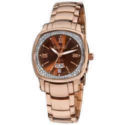 August Steiner Women's Day Date Diamond Steel Watch