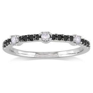 Miadora 14k White Gold 1/4ct TDW Black and White Diamond Ring (G-H, I1-I2)