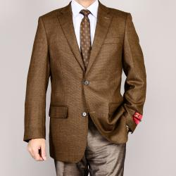Men's Brown 2-Button Wool Sport Coat