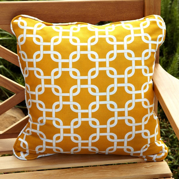 Penelope Yellow 18-inch Square Outdoor Pillow (Set of 2)