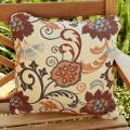 Clara Beige/ Grey Indoor/ Outdoor 18-inch Square Sunbrella Pillows (Set of 2)
