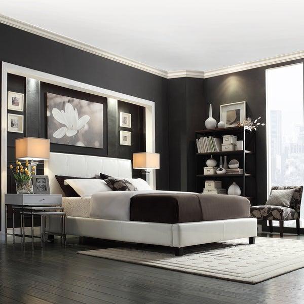 TRIBECCA HOME Castilian White Upholstery Queen/ Full Bed