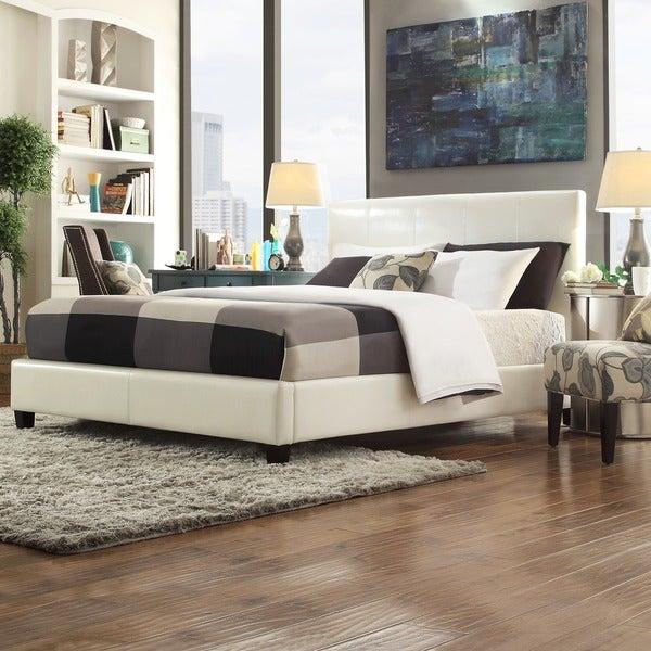 TRIBECCA HOME Castilian White Upholstery King-size Bed