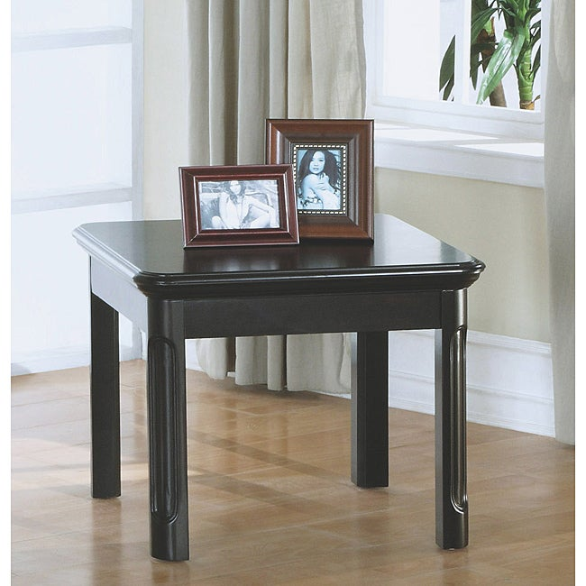 Distressed Black Veneer End Table